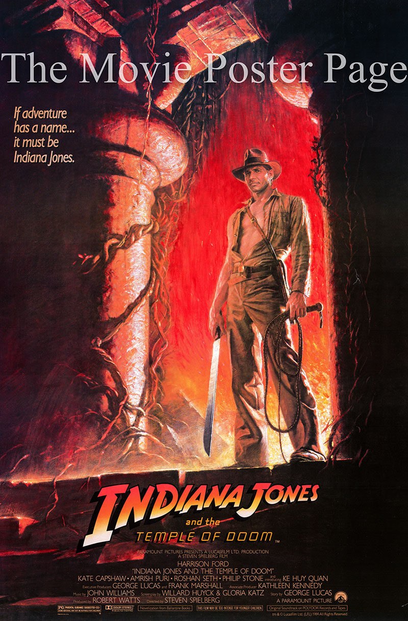 Pictured is a US one-sheet poster for the 1984 Steven Spielberg film Indiana Jones and the Temple of Doom starring Harrison Ford.