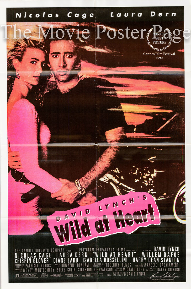 Pictured is a US one-sheet poster for the 1990 David Lynch film Wild at Heart starring Nicolas Cage as Sailor Ripley.