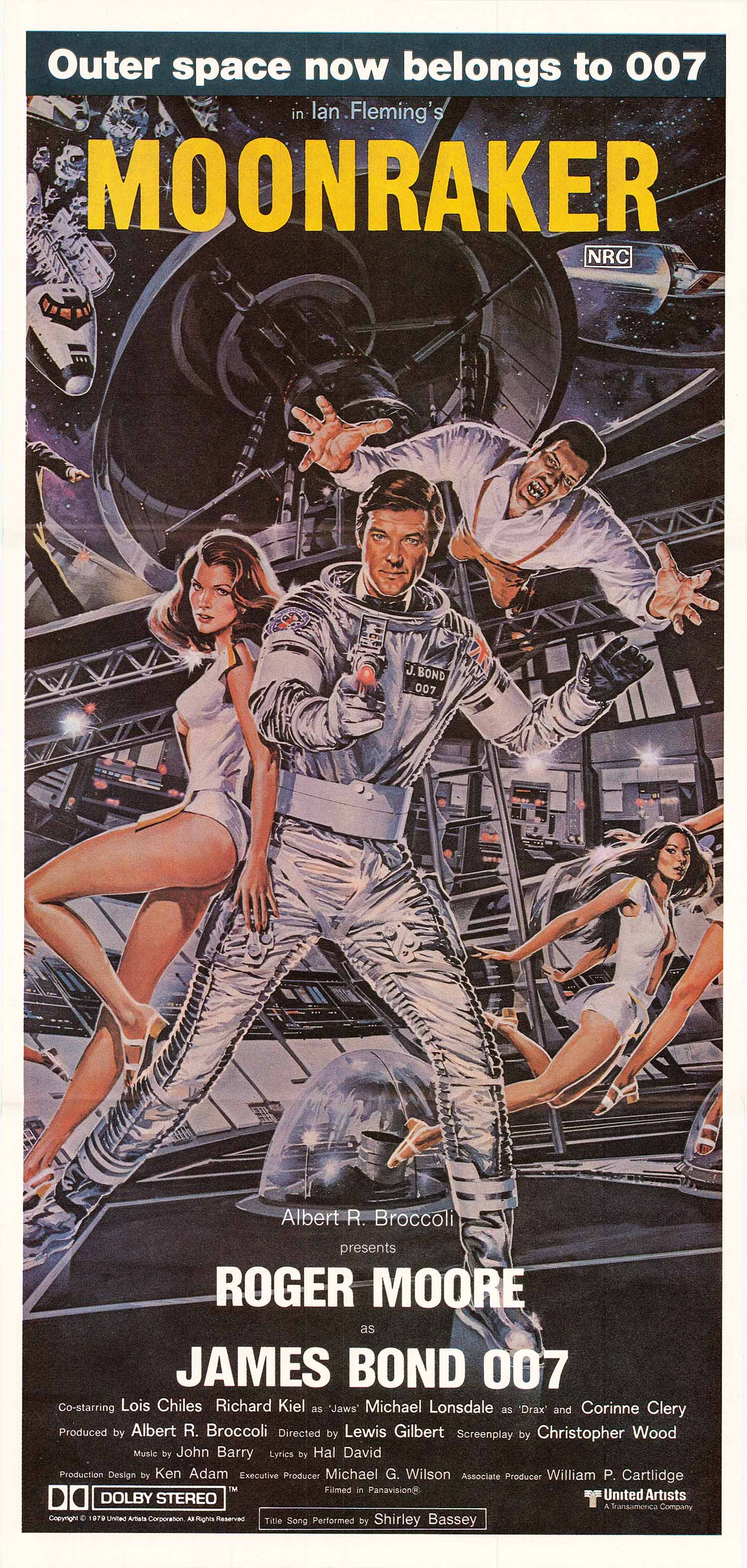 Pictured is an Australian daybill poster made to promote the 1979 Lewis Gilbert film Moonraker starring Roger Moore as James Bond.