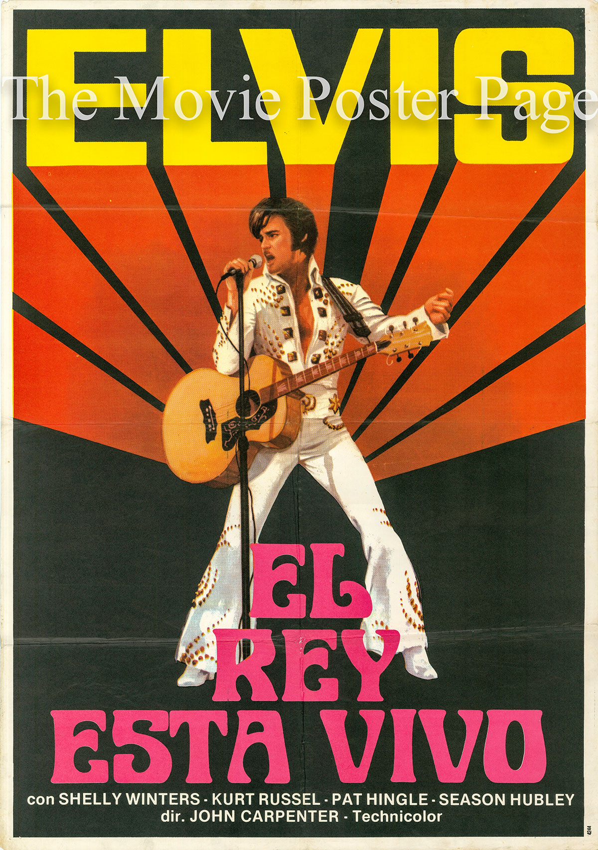 Pictured is a Spanish one-sheet poster for the 1979 John Carpenter film Elvis starring Kurt Russell as Elvis Presley.