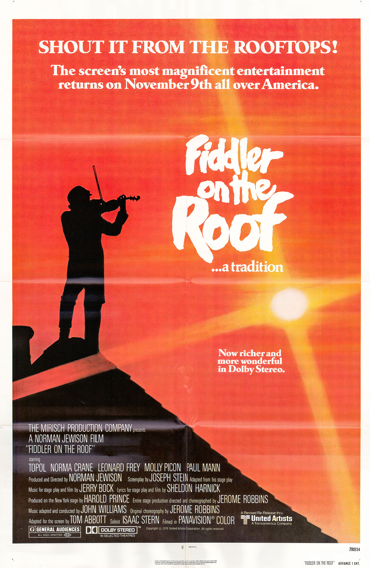 Pictured is a US one-sheet advance poster for a 1979 rerelease of the 1971 Norman Jewison film Fiddler on the Roof starring Topol as Tevye.