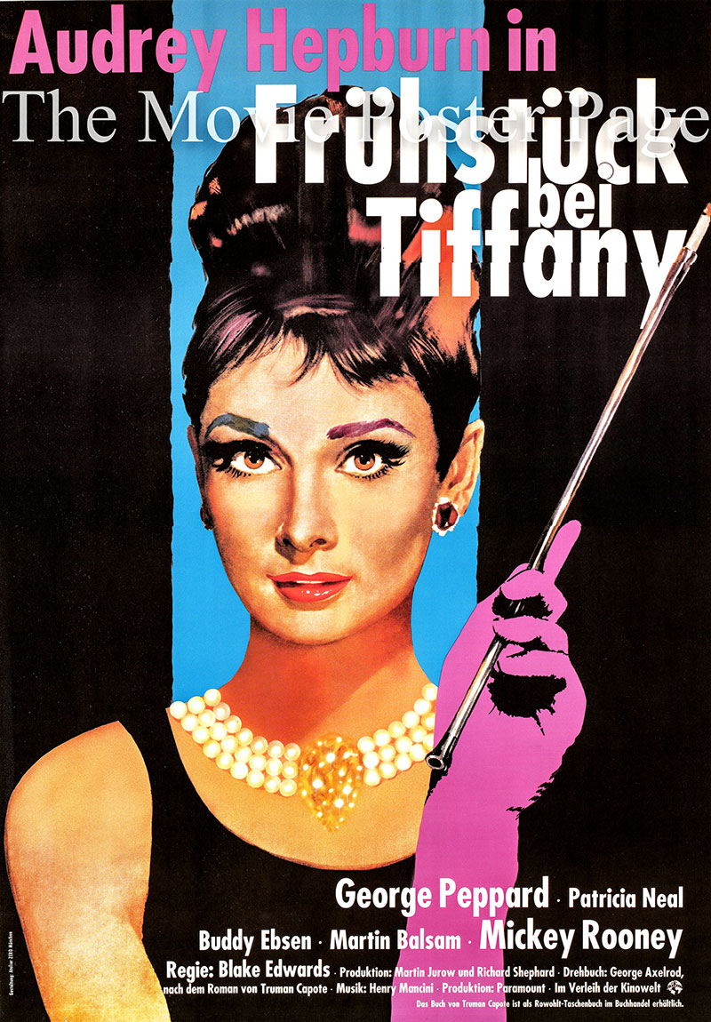 Pictured is a German rerelease poster printed in 1990 to promote the 1961 Blake Edwards film Breakfast at Tiffanys starring Audrey Hepburn as Holly Golightly.