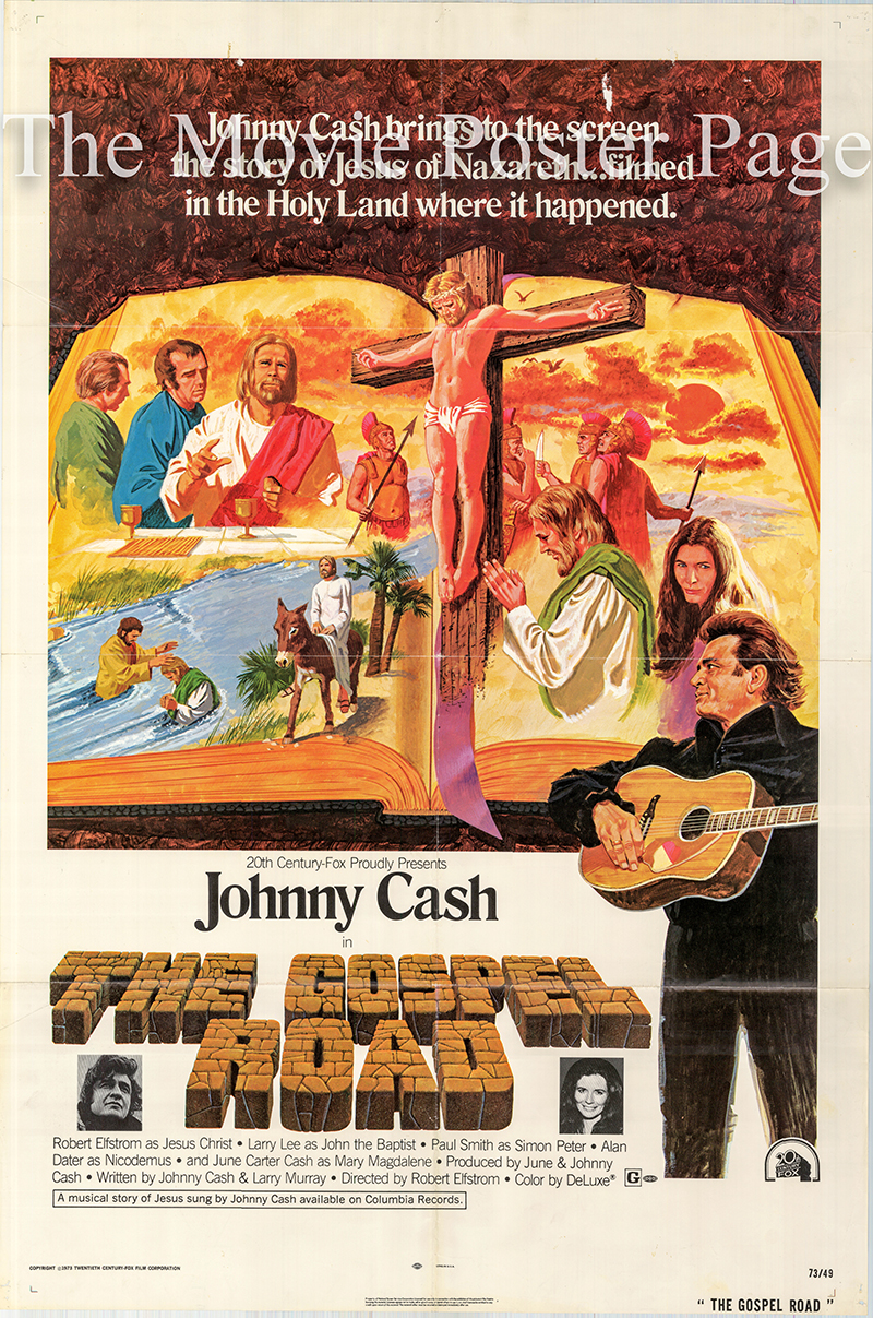 Pictured is a US one-sheet poster for the 1973 Robert Elfstrom film The Gospel Road starring Johnny Cash.