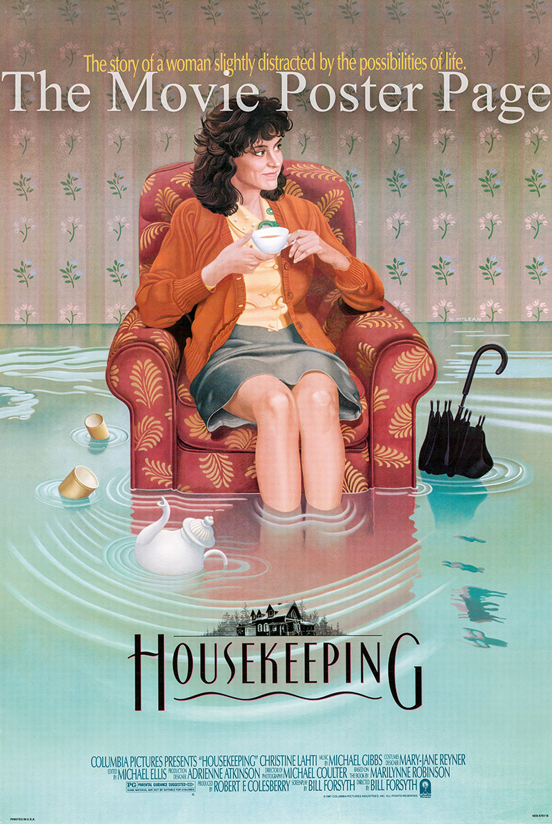 pictured is a US one-sheet poster for the 1987 Bill Forsyth film Housekeeping starring Christine Lahti as Sylvie.