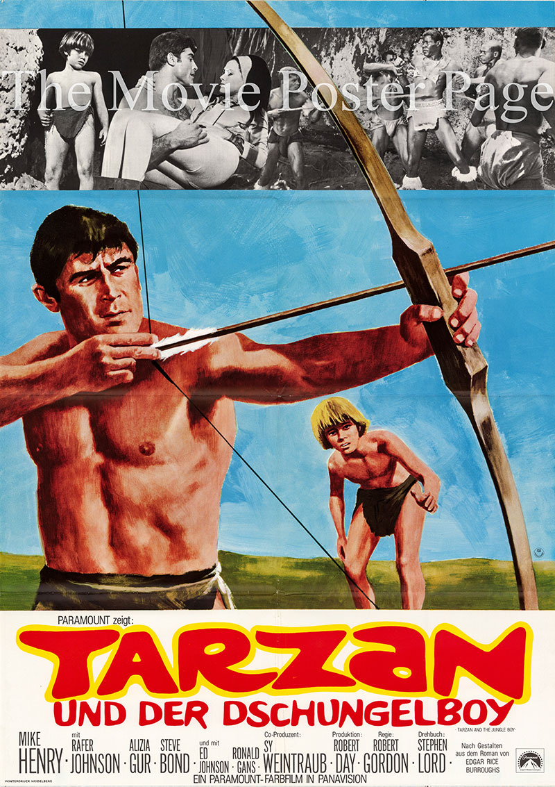 Pictured is a German one-sheet poster for the 1968 Robert Gordon film Tarzan and the Jungle Boy starring Mike Henry as Tarzan.
