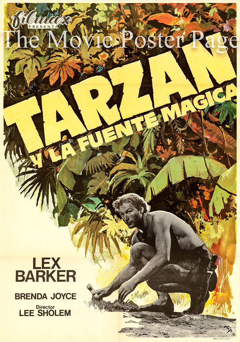 Pictured is a Spanish one-sheet poster for a 1975 rerelease of the 1949 Lee Sholem film Tarzan's Magic Fountain starring Lex Barker as Tarzan.