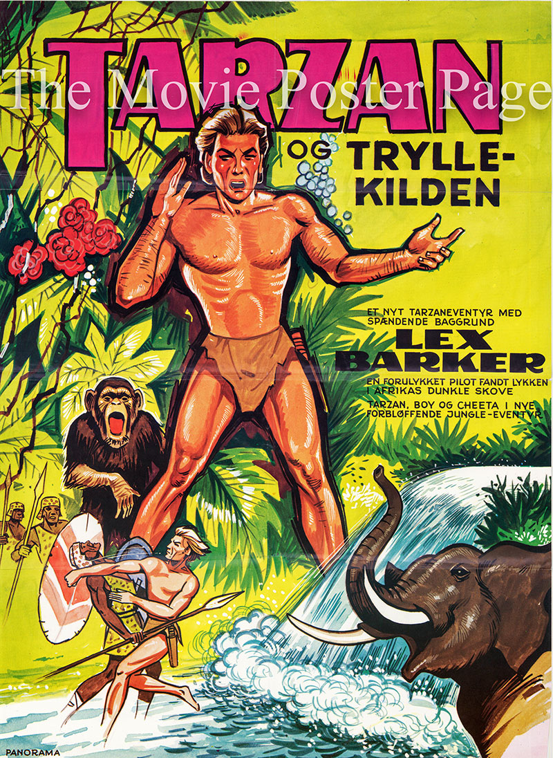 Pictured is a Danish one-sheet poster for the 1951 Byron Haskin film Tarzan's Peril starring Lex Barker as Tarzan.