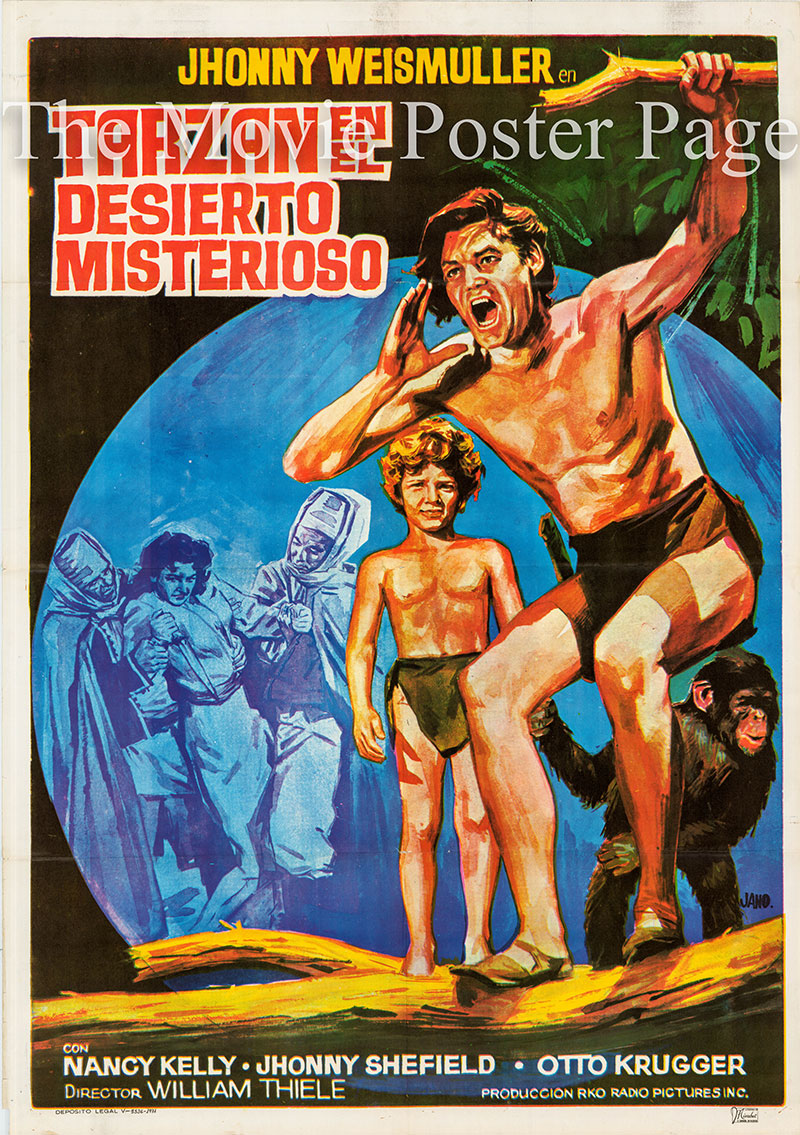 Pictured is a Spanish one-sheet poster for a 1971 rerelease of the 1943 Wilhelm Thiele film Tarzan's Desert Mystery starring Johnny Weissmuller as Tarzan.