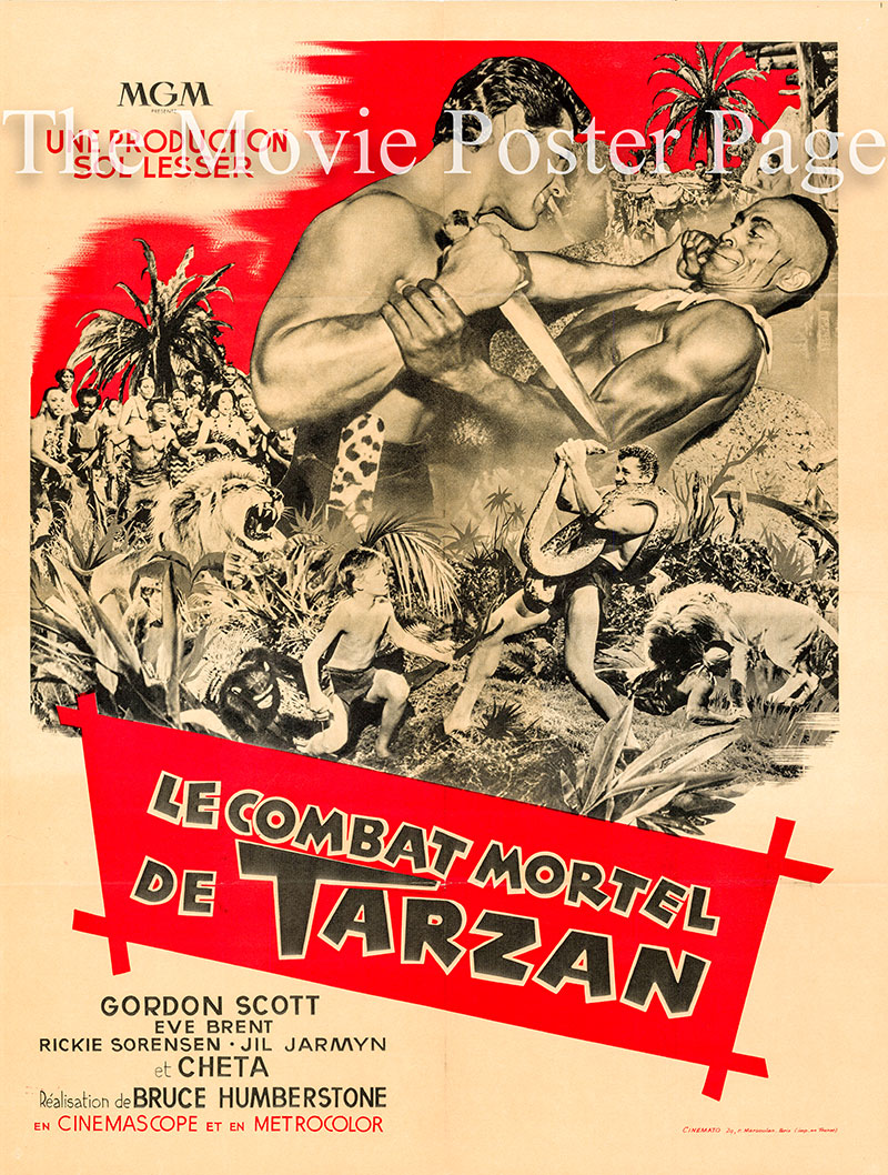 Pictured is a French medium poster for the 1958 H. Bruce Humberstone filkm Tarzan's Fight for Life starring Gordon Scott as Tarzan.
