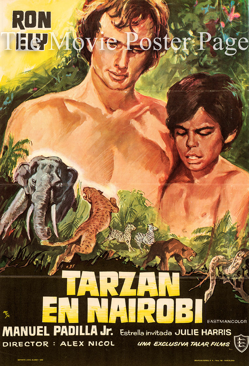 Pictured is a Spanish one-sheet poster for a 1973 rerelease of the 1968 Alex Nicol film Tarzan and the Four O'Clock Army starring Rony Ely as Tarzan.