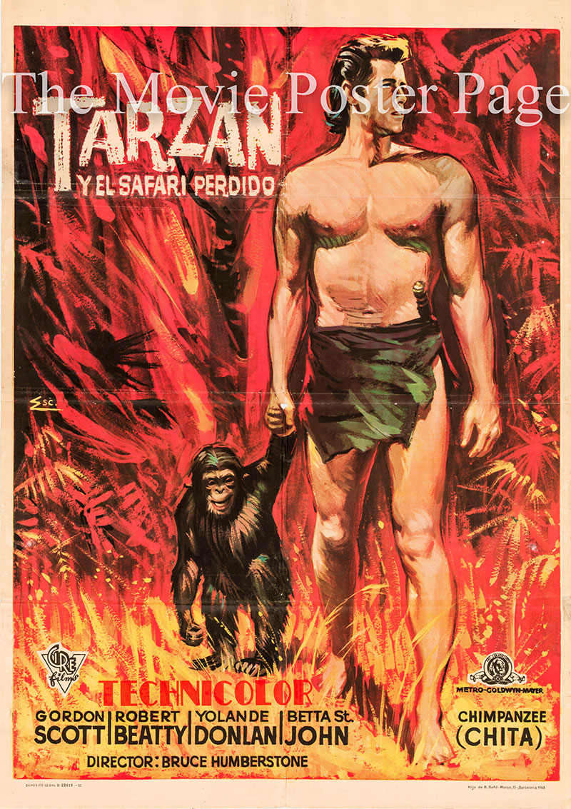 Pictured is a Spanish one-sheet poster for a 1963 rerelease of the 1957 H. Bruce Humberstone film Tarzan and the Lost Safari starring Gordon Scott as Tarzan.