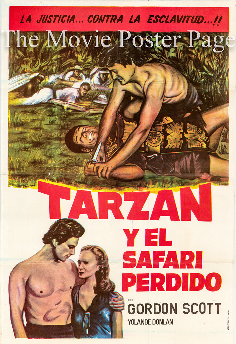 Pictured is an Argentine one-sheet poster for a 1973 rerelease of the 1957 Bruce Humberstone film Tarzan and the Lost Safari starring Gordon Scott as Tarzan.