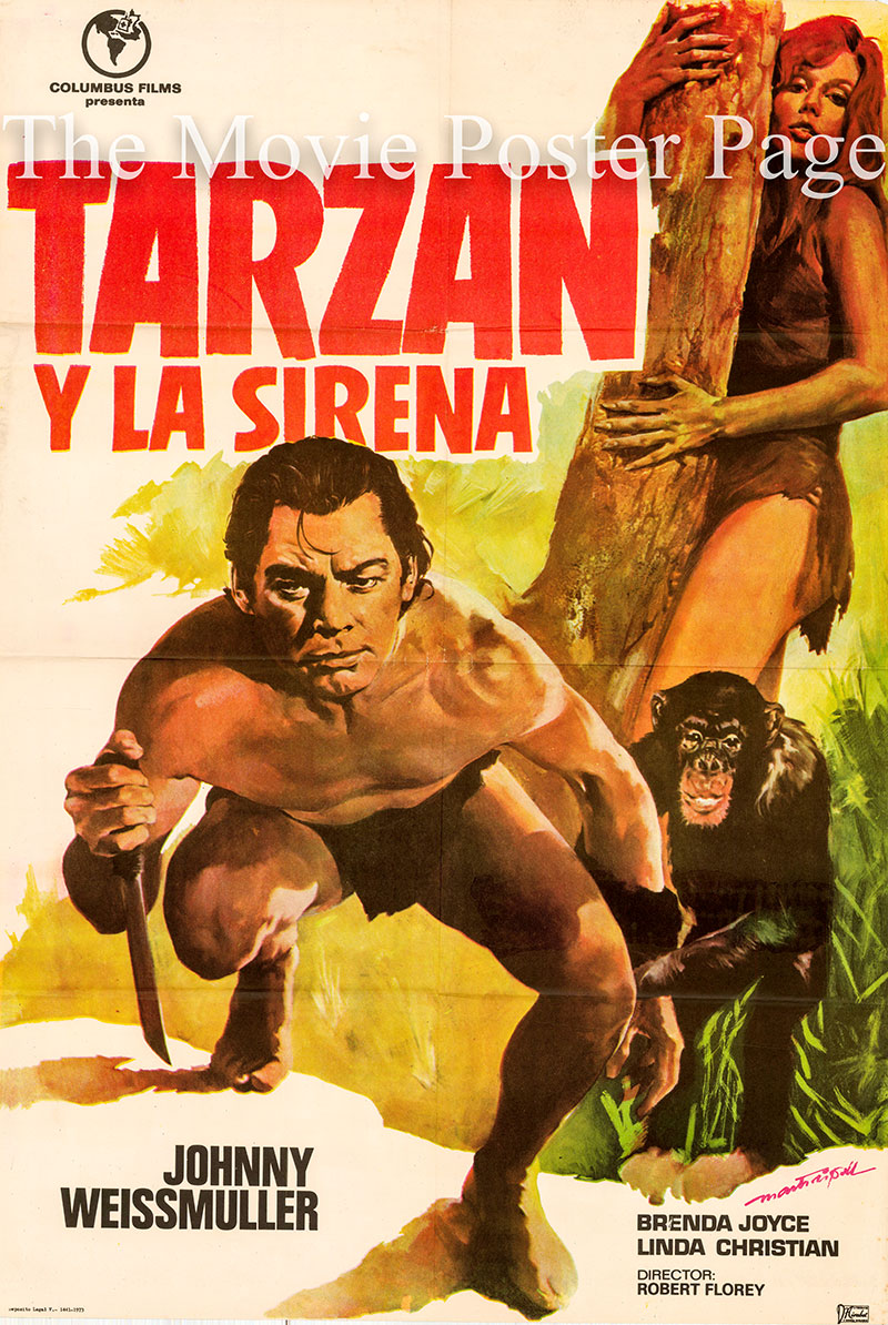 Pictured is a Spanish one-sheet poster for a 1973 rerelease of the 1948 Robert Florey film Tarzan and the Mermaids starring Johnny Weismuller as Tarzan.