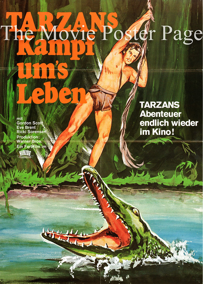 Pictured is a German one-sheet poster for a 1960s rerelease of the 1958 H. Bruce Humberstone film Tarzan's Fight for Life starring Gordon Scott as Tarzan.