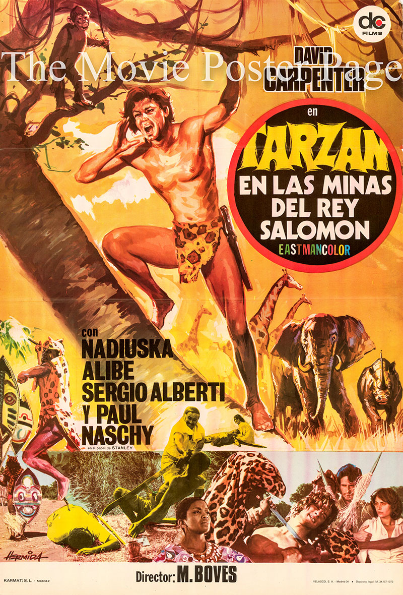 Pictured is a Spanish country-of-origin poster for the 1973 Jose Luis Merino film Tarzan in King Solomon's Mines starring David Carpenter as Tarzan.