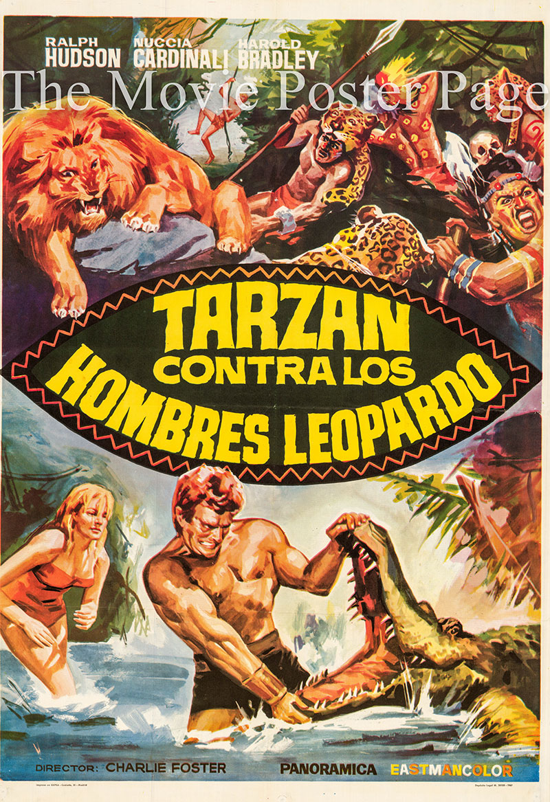 Pictured is a Spanish one-sheet poster for the 1964 Carlo Veo film Trazan against the Leopard Men starring Ralph Hudson.