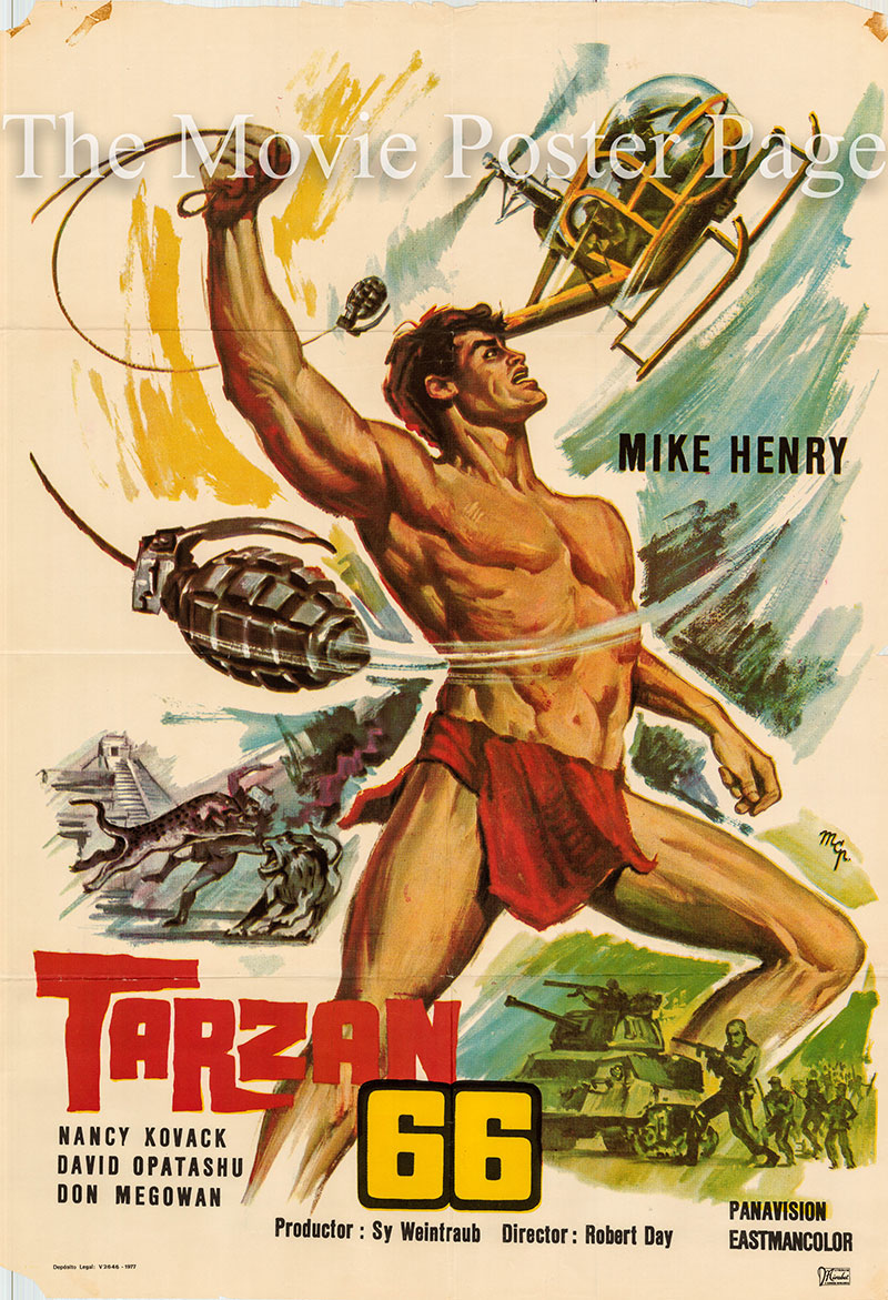 Pictured is a US one-sheet poster for a 1977 rerelease of the 1966 Robert Day film Tarzan and the Valley of Gold starring Mike Henry as Tarzan.