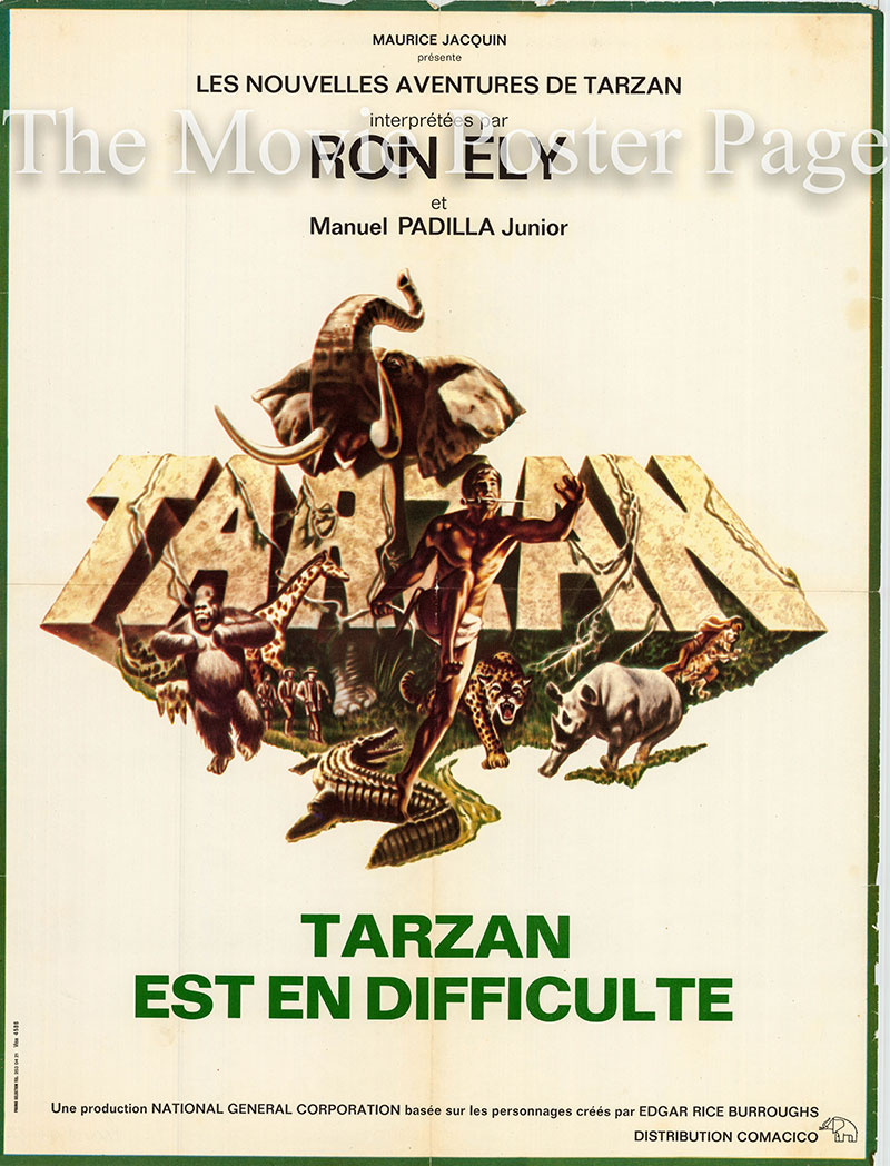 Pictured is a French medium poster for the 1967 Alex Nicol film Tarzan and the Perils of Charity Jones starring Ron Ely as Tarzan.