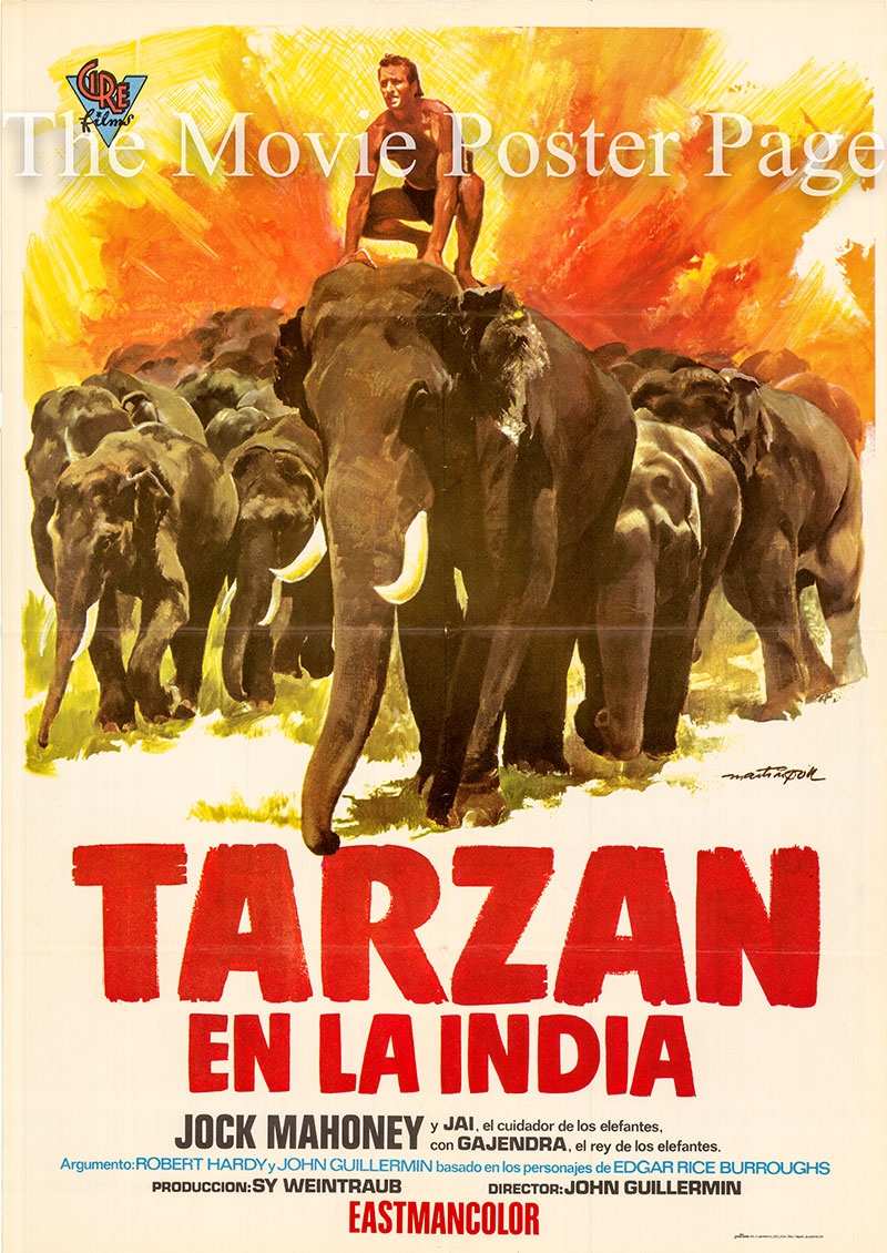 Pictured is a Spanish one-sheet poster for a 1973 rerelease of the 1962 John Guillermin film Tarzan Goes to India starring Jock Mahoney as Tarzan.