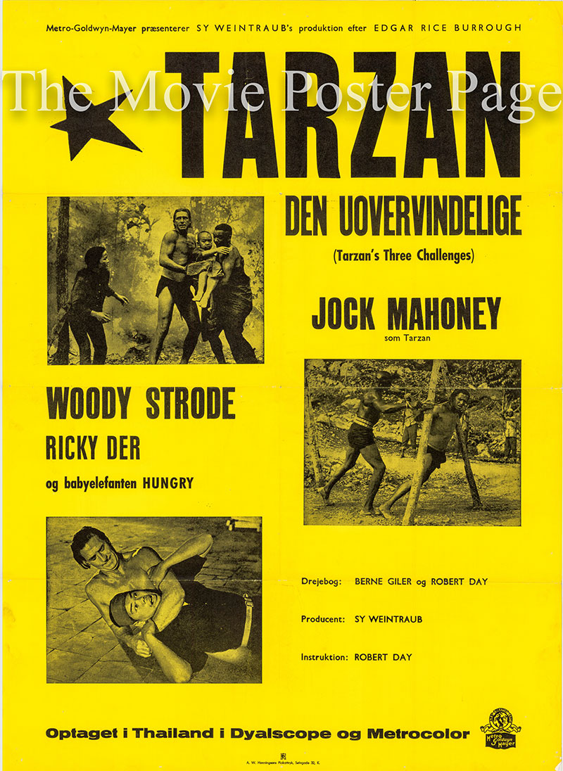 Pictured is a Danish poster for the 1963 Robert Day film Tarzan's Three Challenges starring Jock Mahoney as Tarzan.