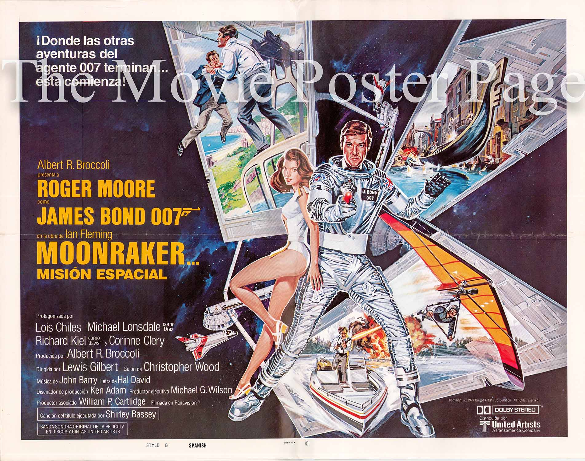 Pictured is a US half-sheet poster made to promote the 1979 Lewis Gilbert film Moonraker starring Roger Moore as James Bond.
