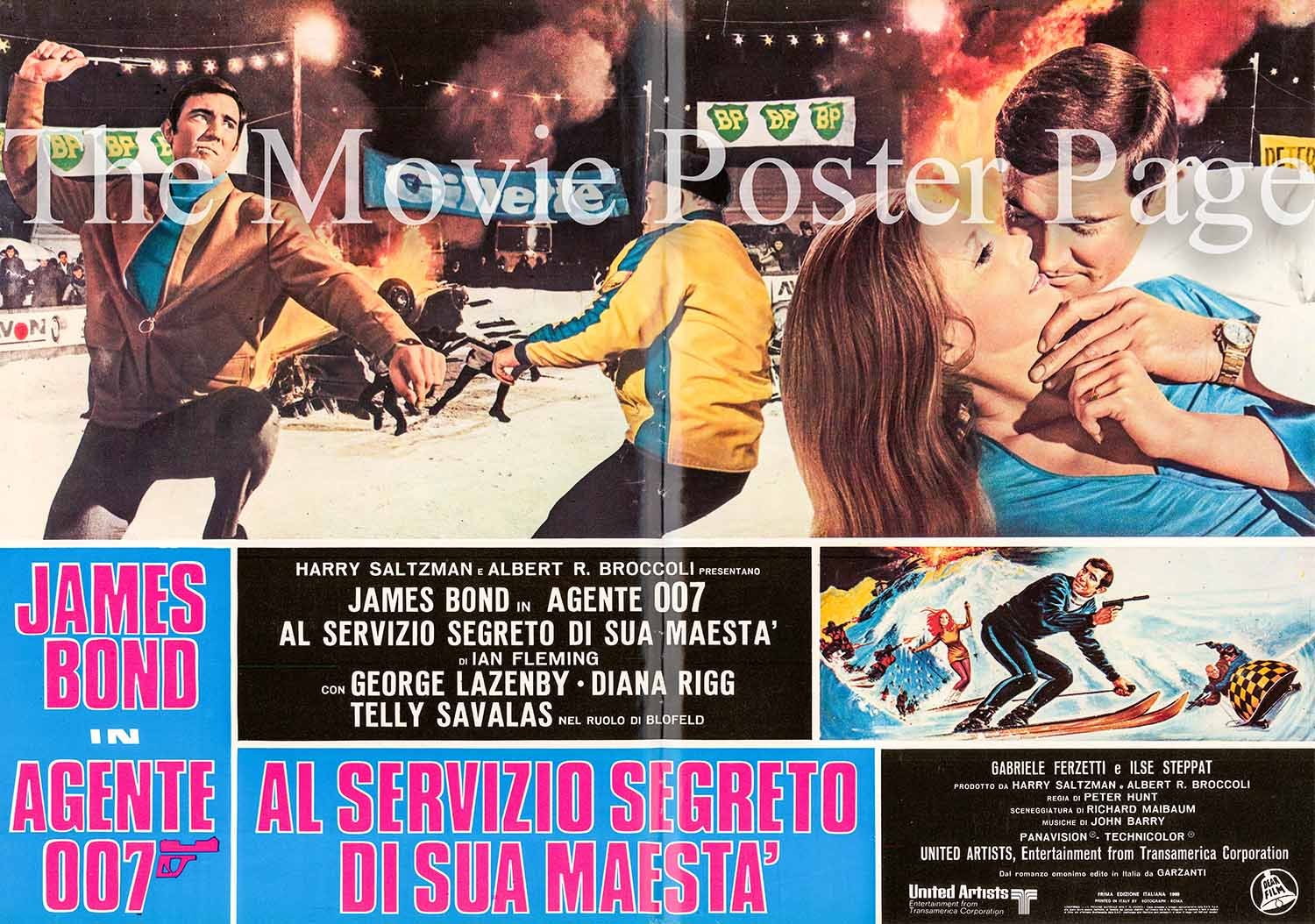 Pictured is a Italian fotobusta #1 promotional poster for the 1969 Peter R. Hunt film On Her Majesty's Secret Service starring George Lazenby as James Bond.
