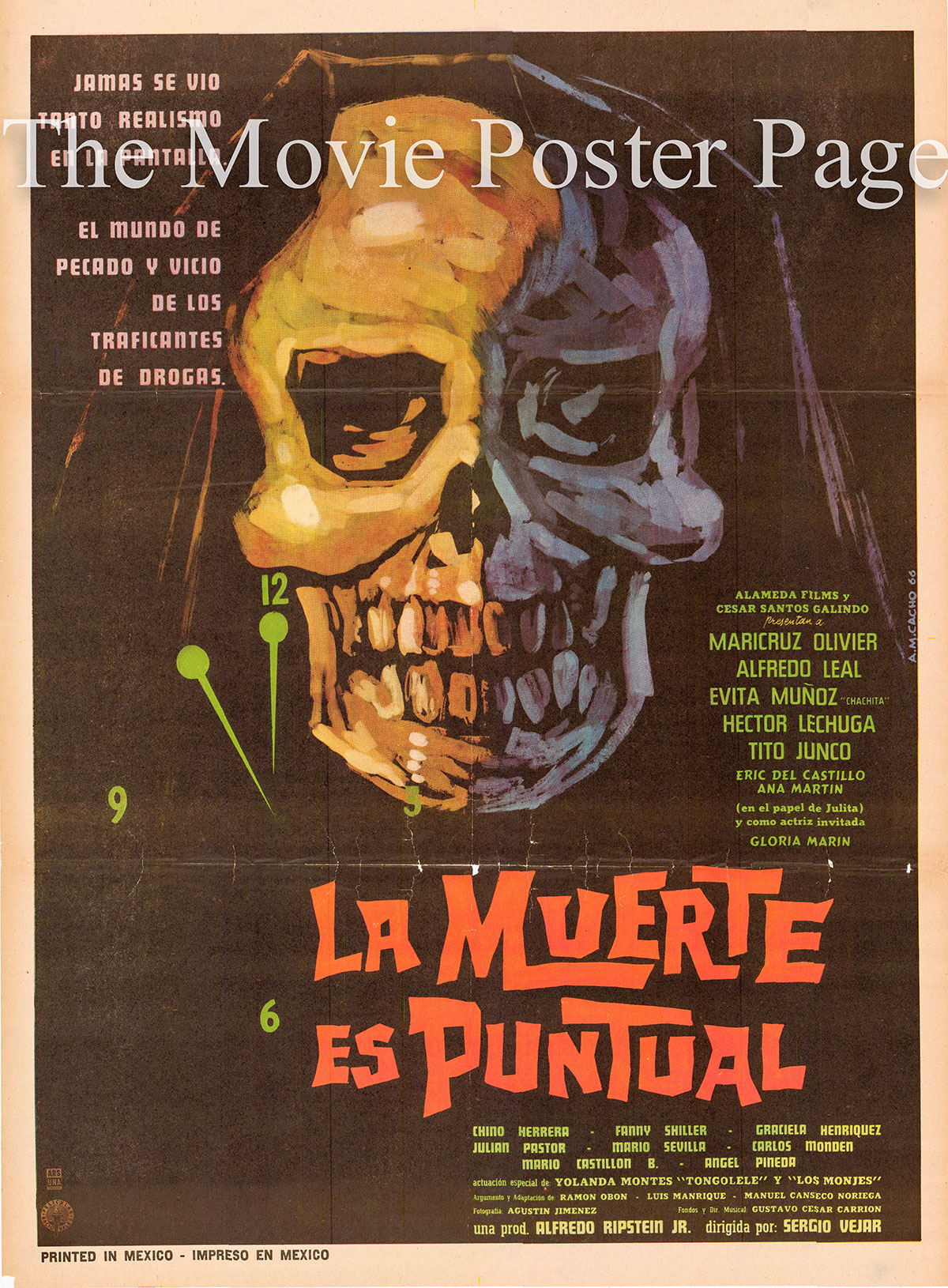Pictured is a Mexican promotional one-sheet for the 1967 Sergio Vejar film Death is Punctual starring Maricruz Olivier.