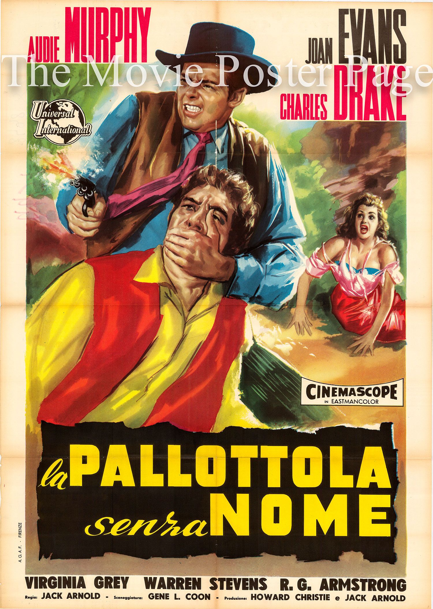Pictured is an Italian two-sheet poster for the 1958 Jack Arnold film No Name of the Bullet starring Audie Murphy as John Gant.