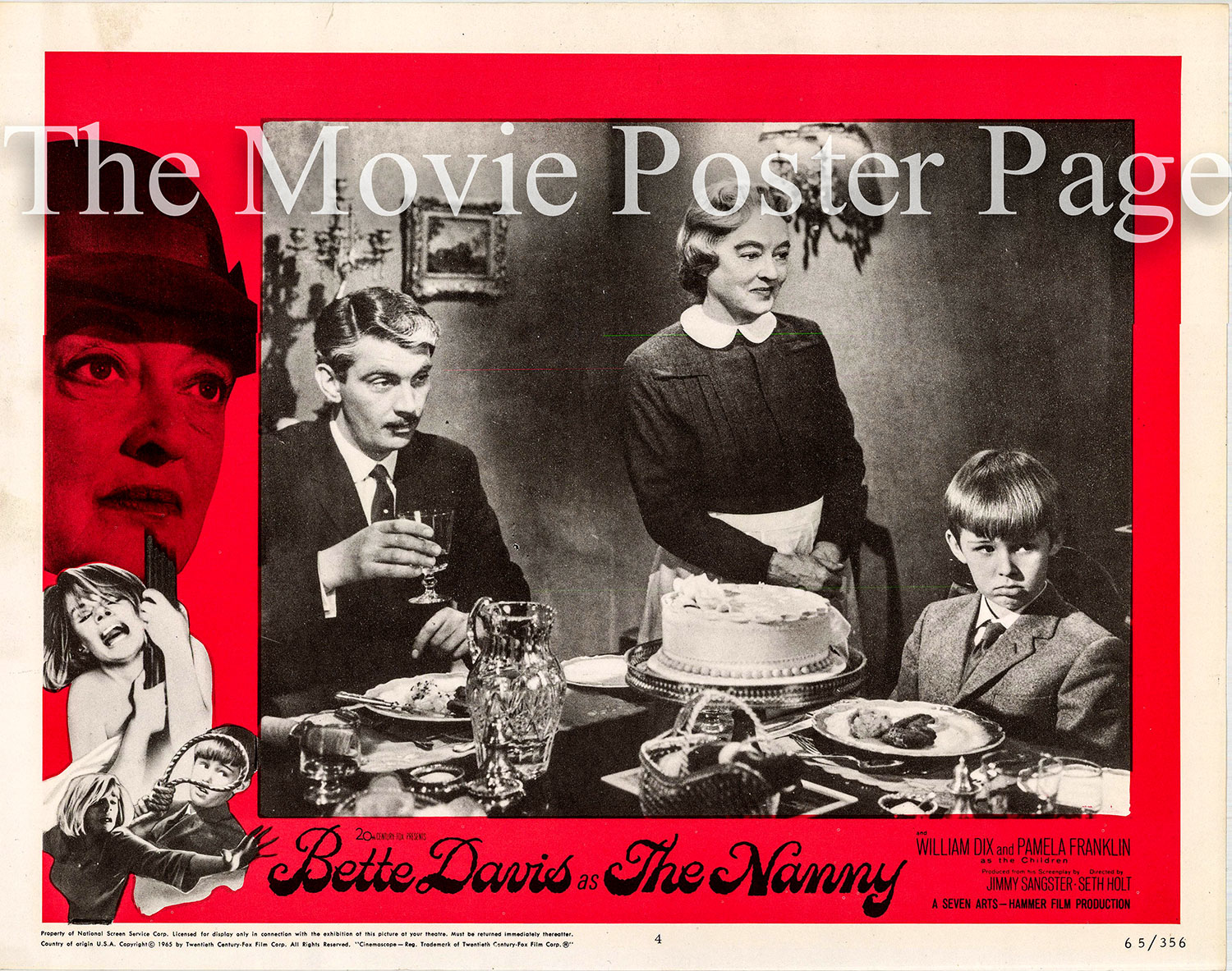 Pictured is a US lobby card for the 1965 Seth Holt film The Nanny starring Bette Davis.