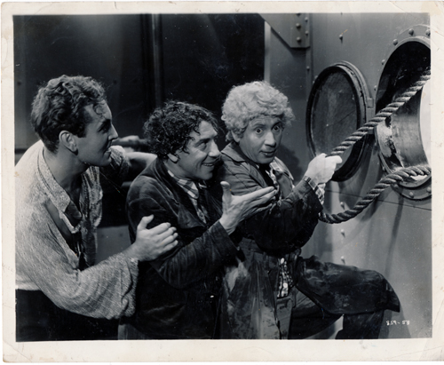 Pictured is a US promotional still photo from the 1935 Sam Wood film A Night at the Opera starring the Marx Brothers.