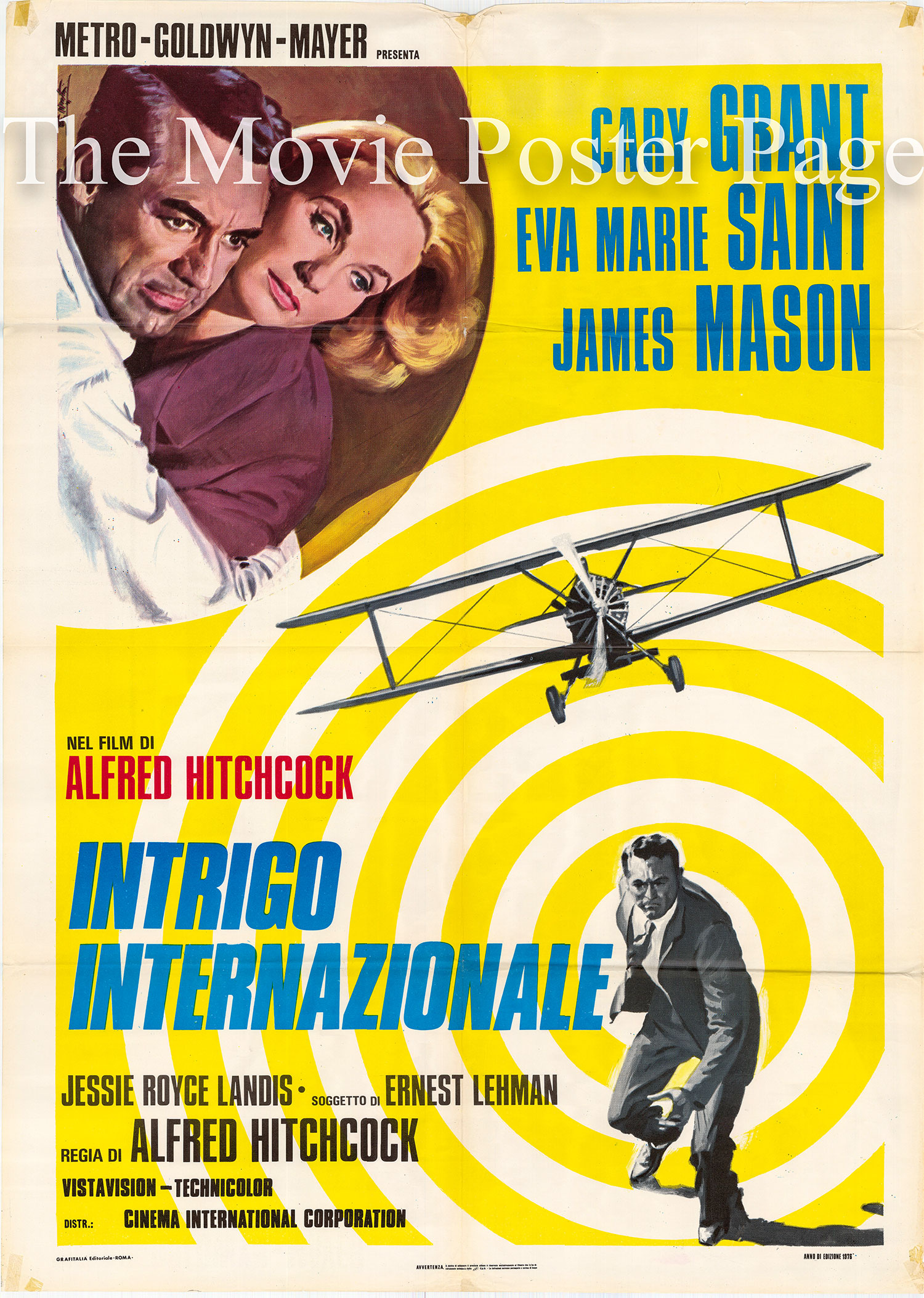 Pictured is an Italian two-sheet poster for a 1976 rerelease of the 1959 Alfred Hitchcock film North by Northwest starring Cary Grant.