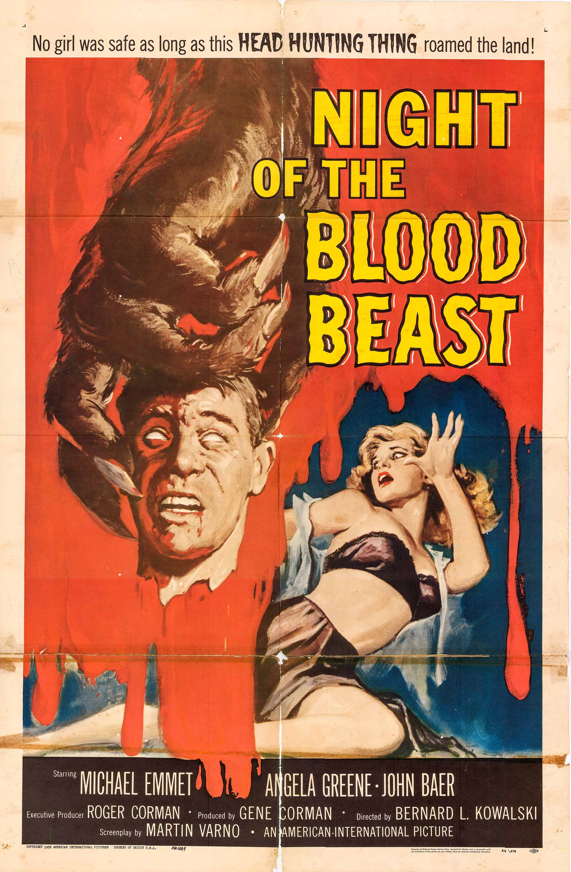 Pictured is a US one-sheet promotional poster for the 1958 Bernard L. Kowalski film Night of the Blood Beast starring John Baer.