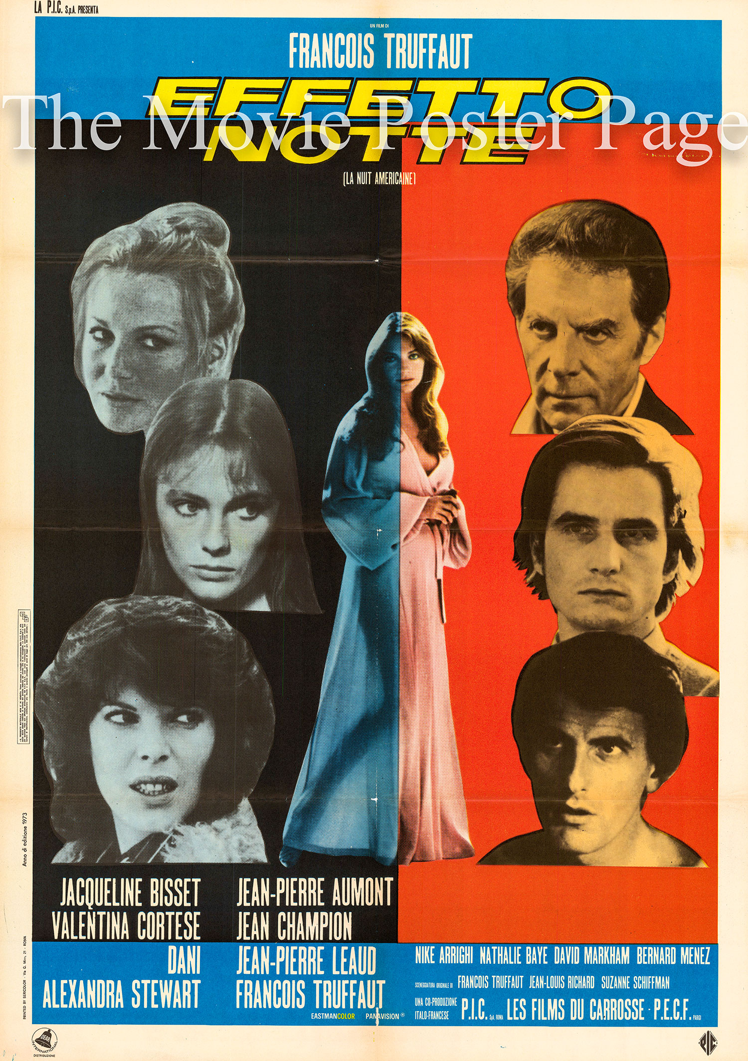 Pictured is an Italian two-sheet promotional poster for the 1973 Francoise Truffaut film Day for Night starring Jacqueline Bisset.