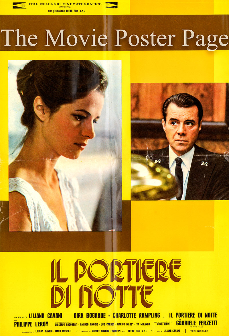 Pictured is a set of Italina fotobusta posters for the 1974 Liliana Cavani film The Night Porter starring Dirk Bogarde as Max.