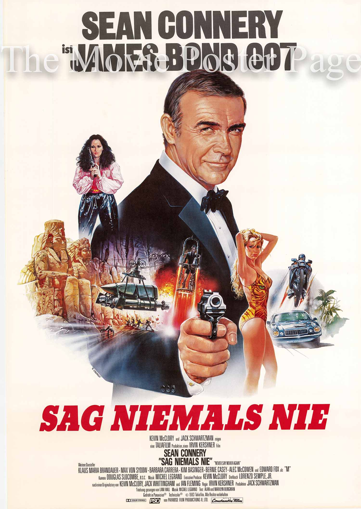 Pictured is a German two-sheet promotional poster for the 1983 Irvin Kershner film Never Say Never Again starring Sean Connery as James Bond.