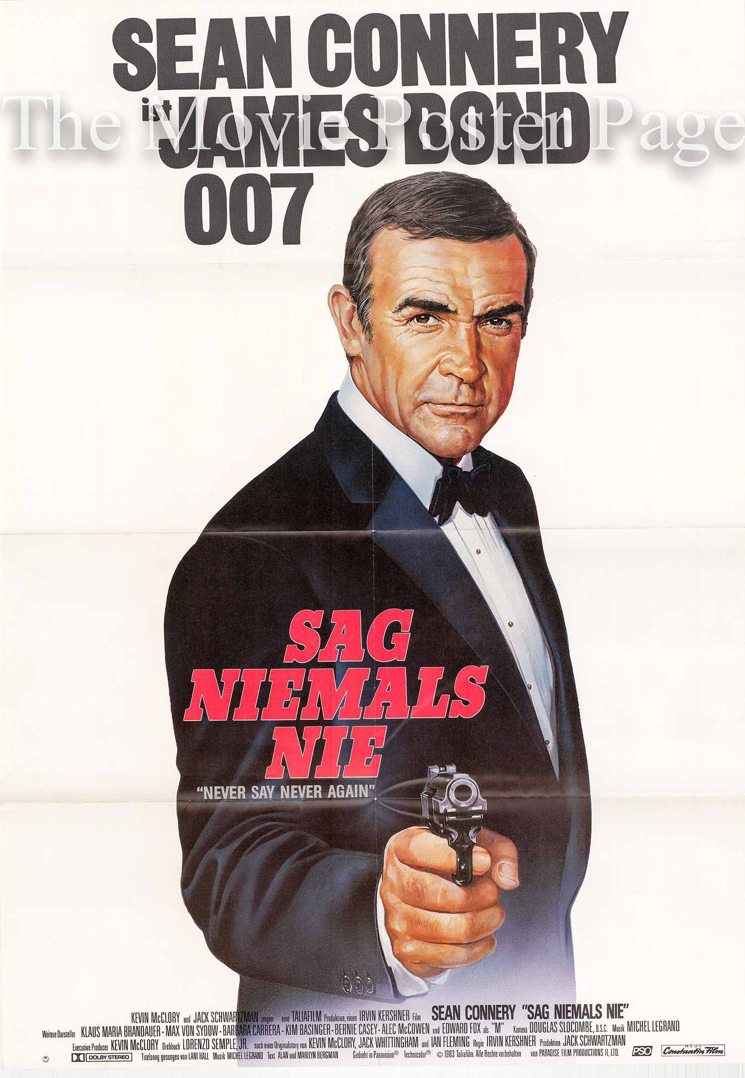 Pictured is a German 23x33 poster made to promote the 1983 Irvin Kershner film Never Say Never Again starring Sean Connery as James Bond.