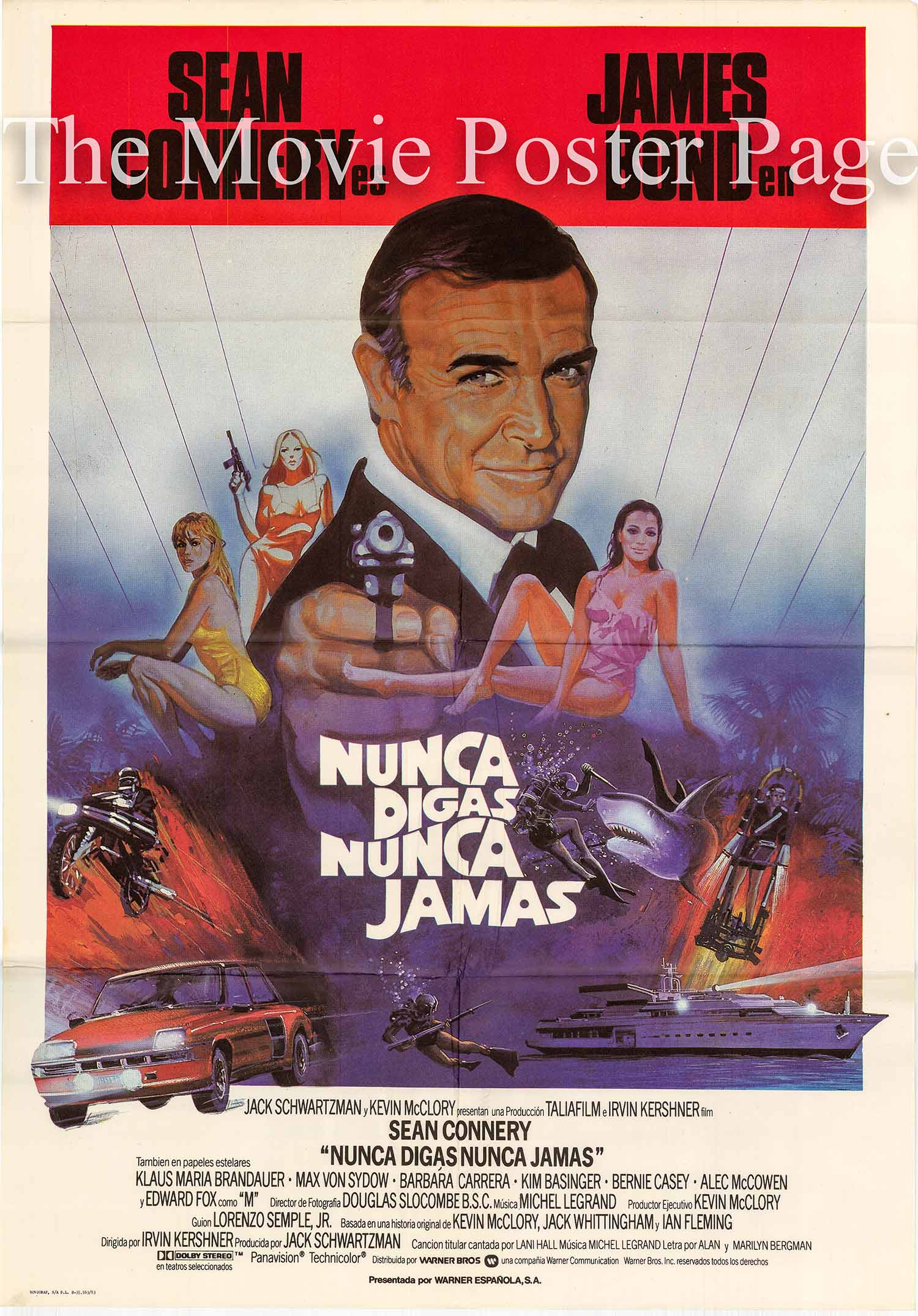 Pictured is a Spanish language promotional poster for the 1983 Irvin Kershner film Never Say Never Again starring Sean Connery.