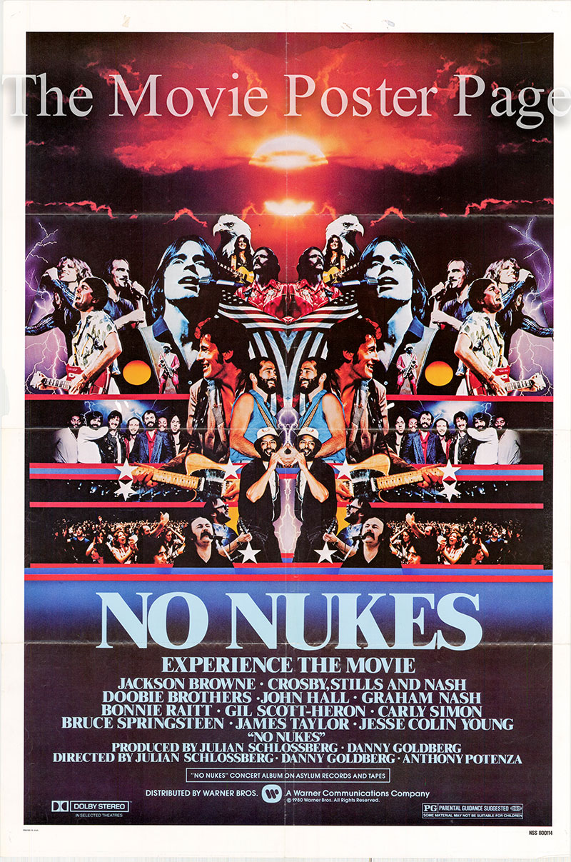 Pictured is a US one-sheet poster for the 1980 Julian Schlossberg, Danny Goldberg and Anthony Petenza film No Nukes starring Jackson Browne.
