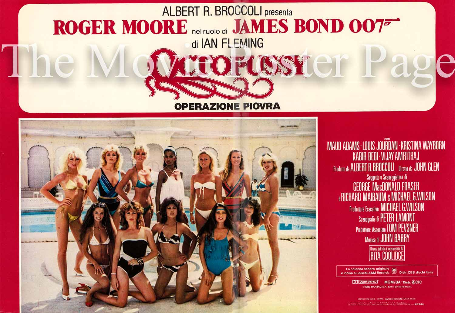 Pictured is an Italian fotobusta poster for the 1983 John Glen film Octopussy starring Roger Moore as James Bond.