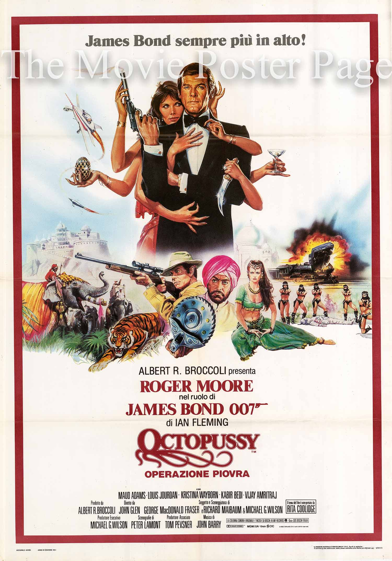 Pictured is an Italian two-sheet poster designed to promote the 1983 John Glen film Octopussy starring Roger Moore as James Bond.