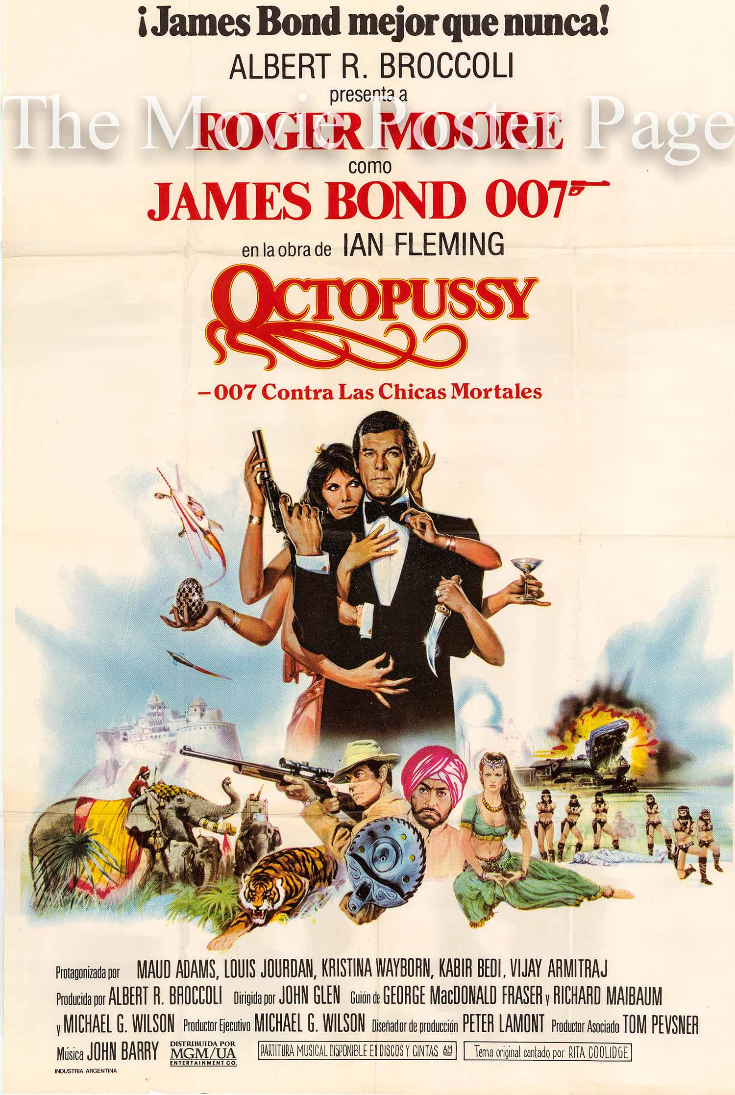 Pictured is an Argentine promotional poster for the 1983 John Glen film Octopussy starring Roger Moore as James Bond.