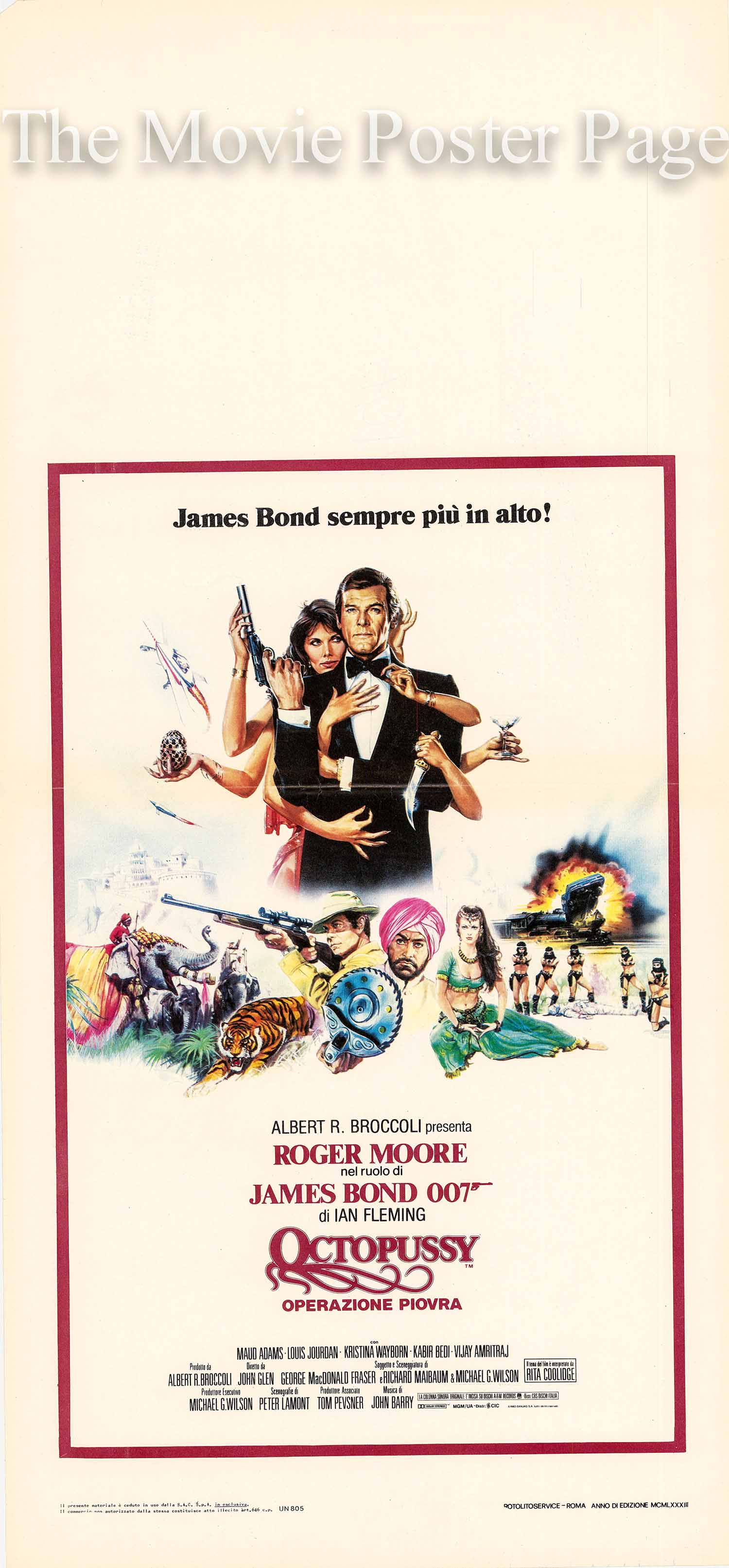 Pictured is a 14x28 Italian Locandina for the 1983 John Glen film Octopussy starring Roger Moore as James Bond.