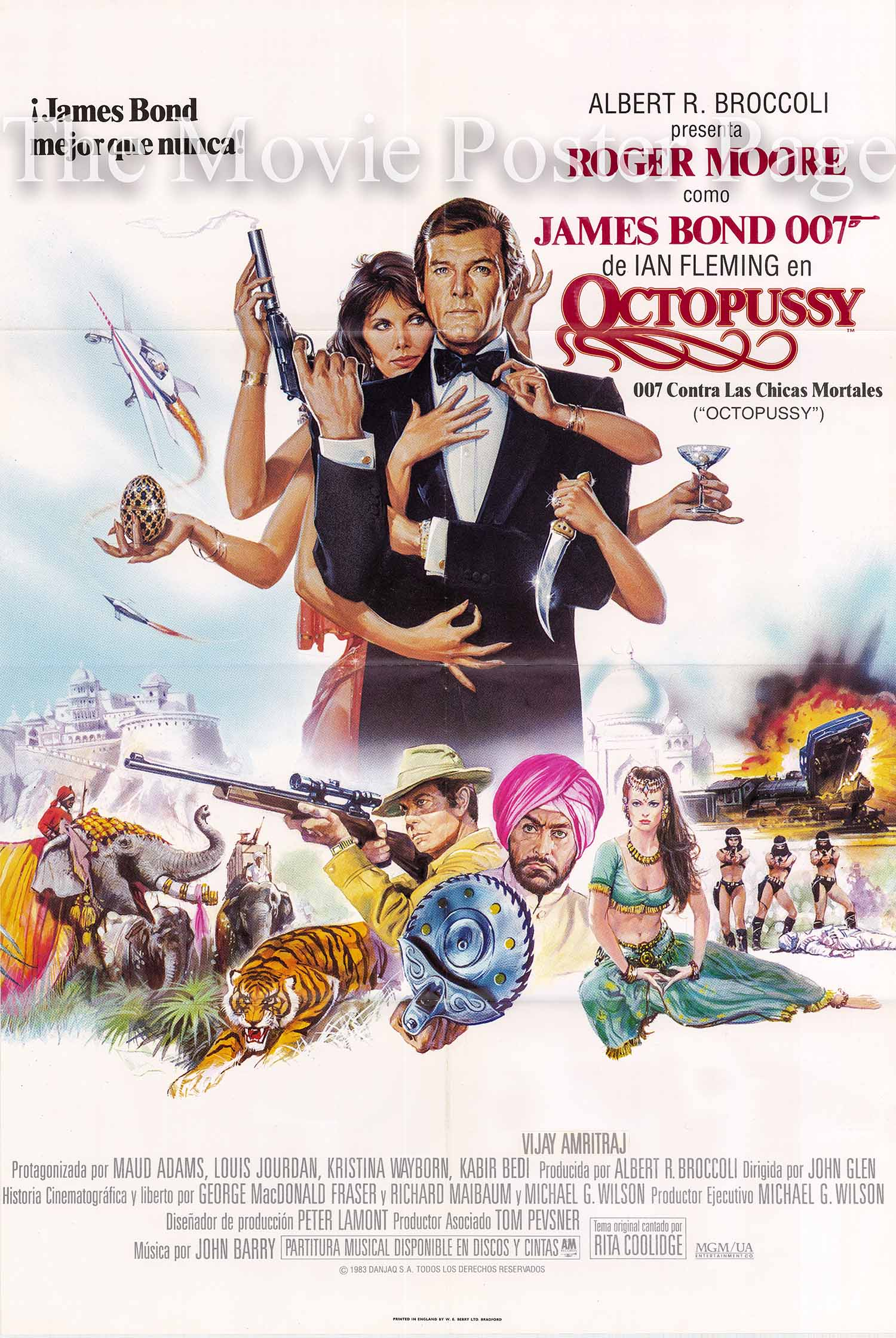 Pictured is a Spanish one-sheet promotional poster for the 1983 John Glen film Octopussy starring Roger Moore as James Bond.