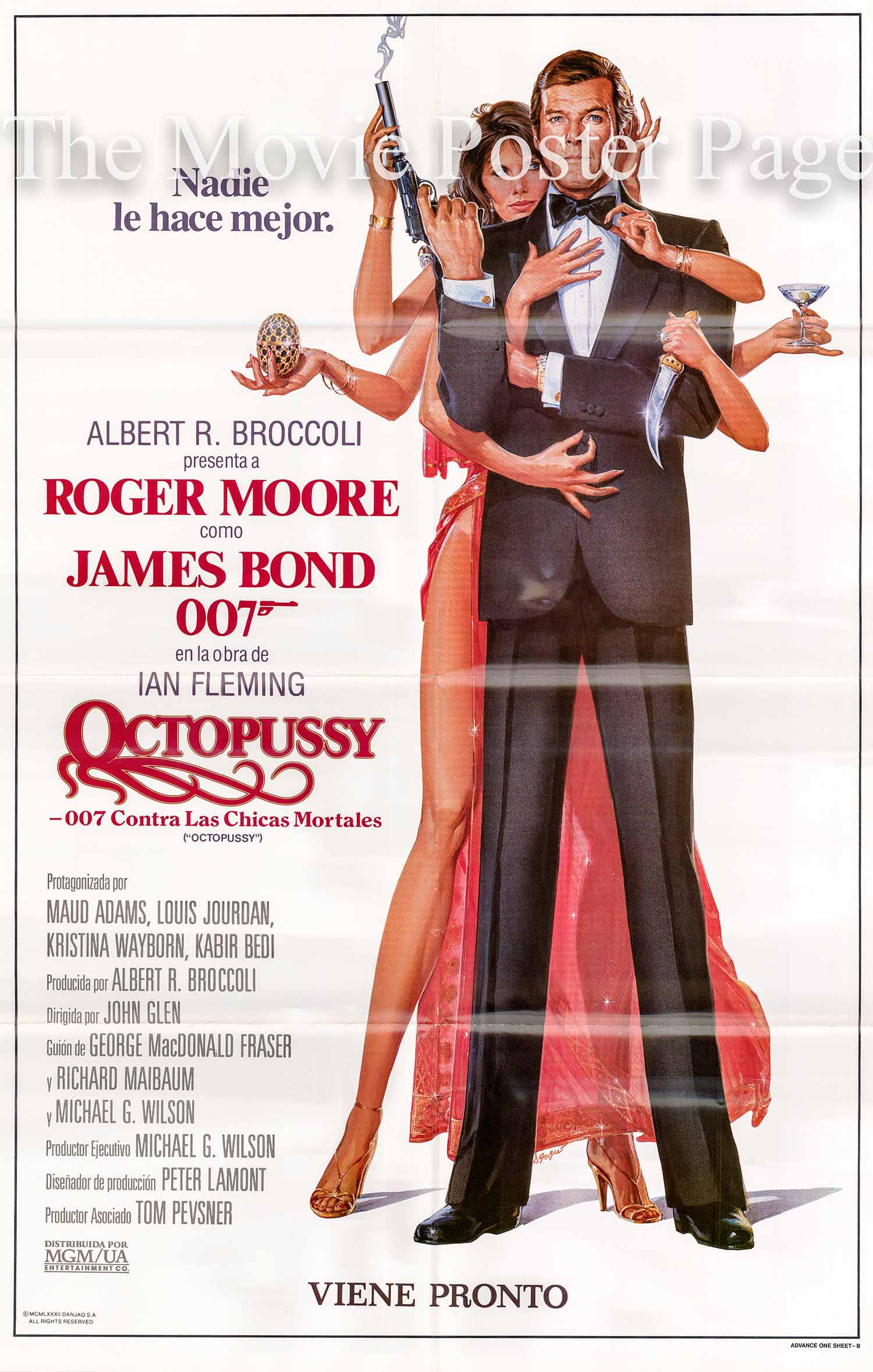 Pictured is a Spanish one-sheet advance poster made to promote the 1983 John Glen film Octopussy starring Roger Moore as James Bond.
