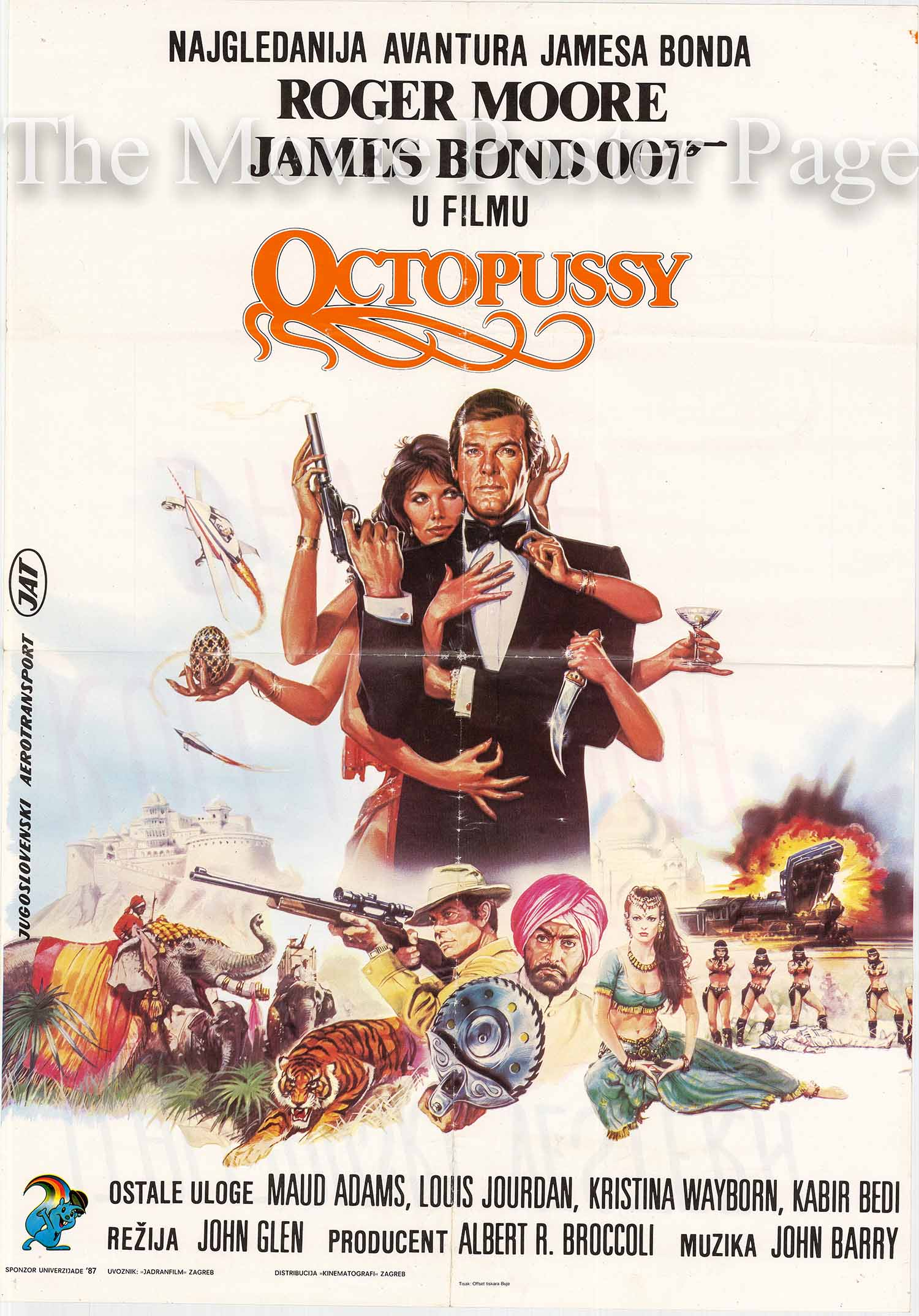 Pictured is a Yugoslavian promotional poster made for the 1983 John Glen film Octopussy starring Roger Moore as James Bond.