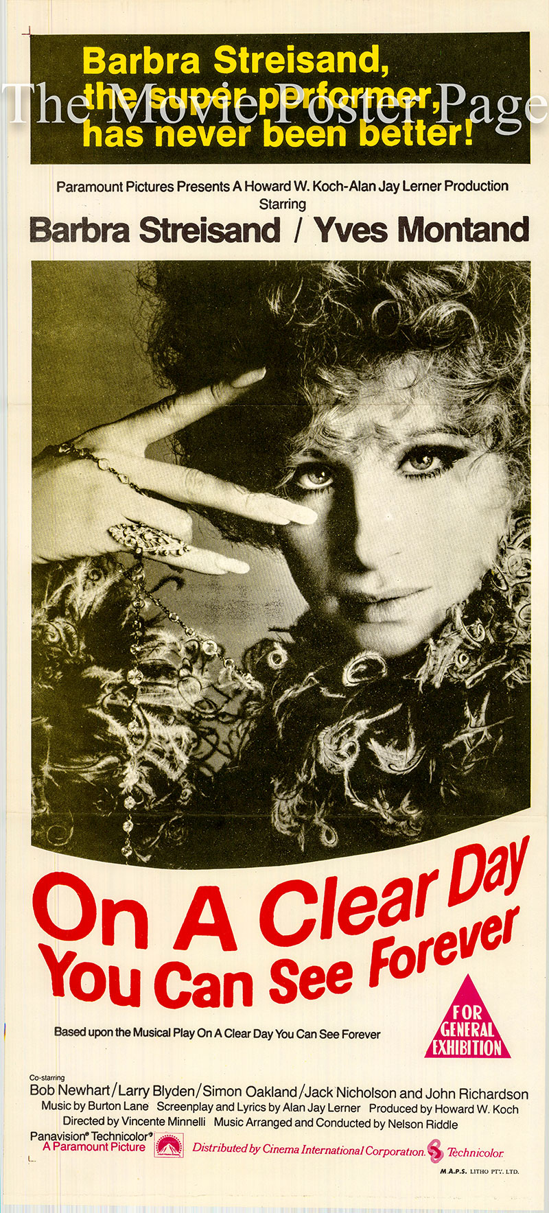 Pictured is an Australian day bill promotional poster for the 1970 Vincente Minnelli film On a Clear Day You Can See Forever, starring Barbra Streisand.