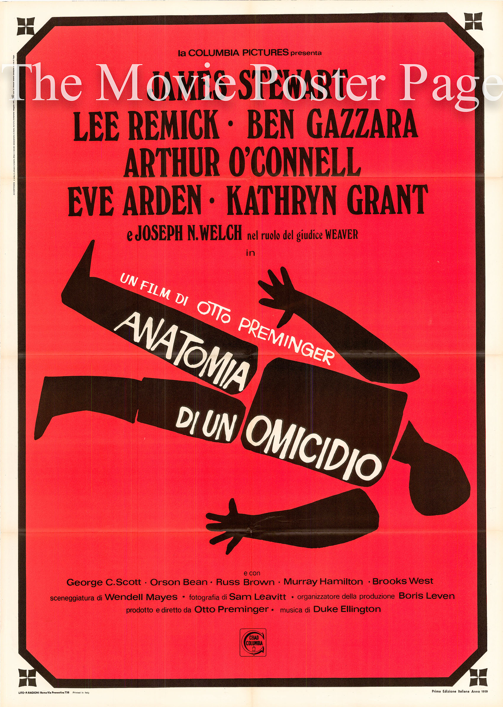 Pictured is an Italian two-sheet promotional poster for the 1959 Otto Preminger film Anatomy of a Murder starring James Stewart as Paul Biegler.