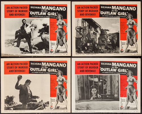 Pictured are four US lobby cards for the 1950 Mario Camerini film Outlaw Girl starring Silvana Mangano.