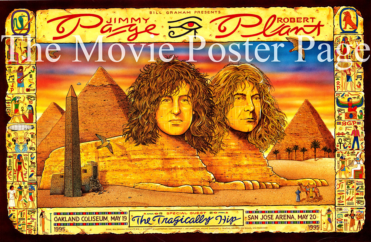 Pictured is a promotional concert poster for two 1995 appearances by Jimmy Page and Robert Plant.