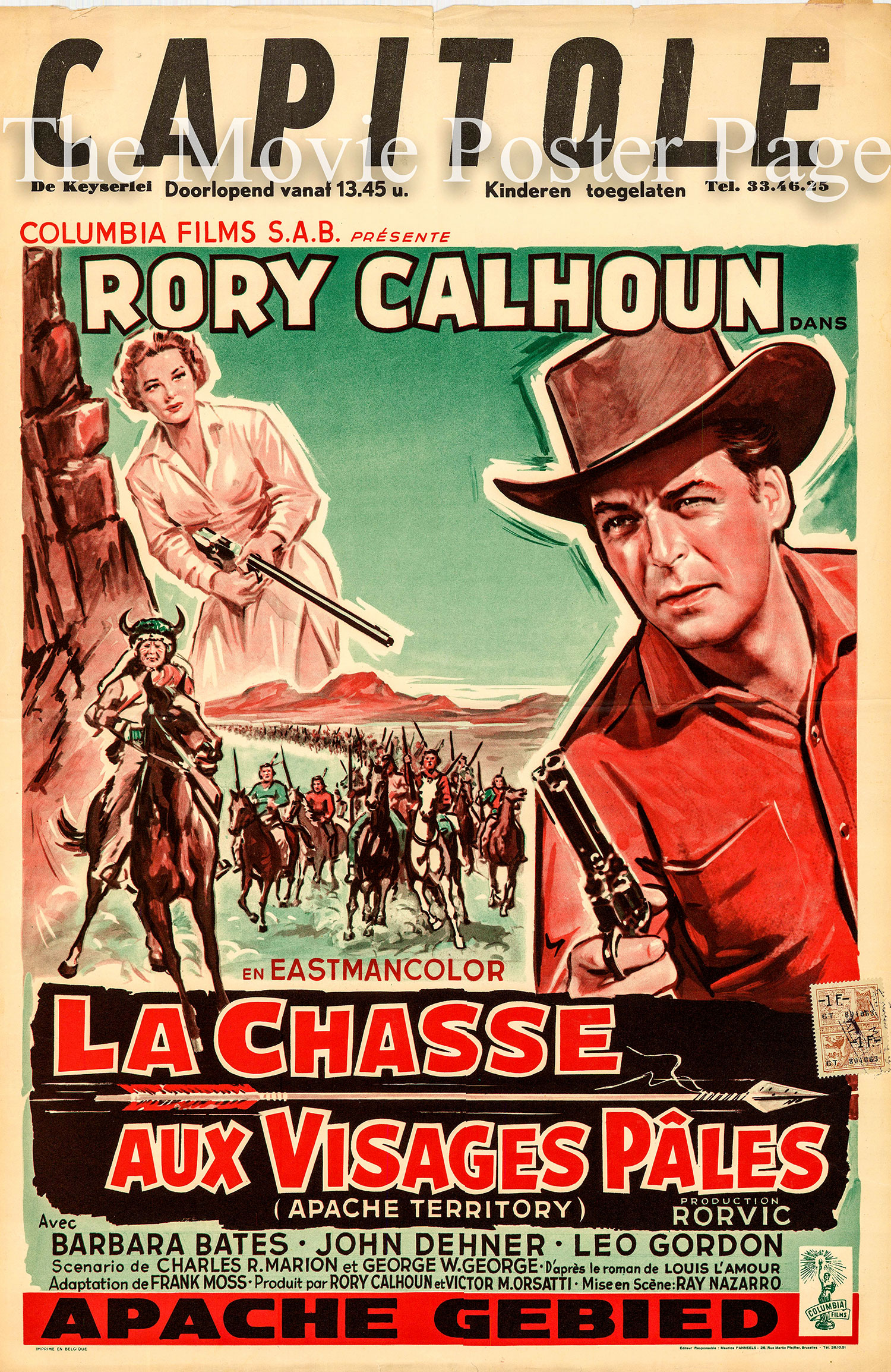Pictured is a Belgian poster for the 1958 Ray Nazarro film Apache Territory starring Rory Calhoun.